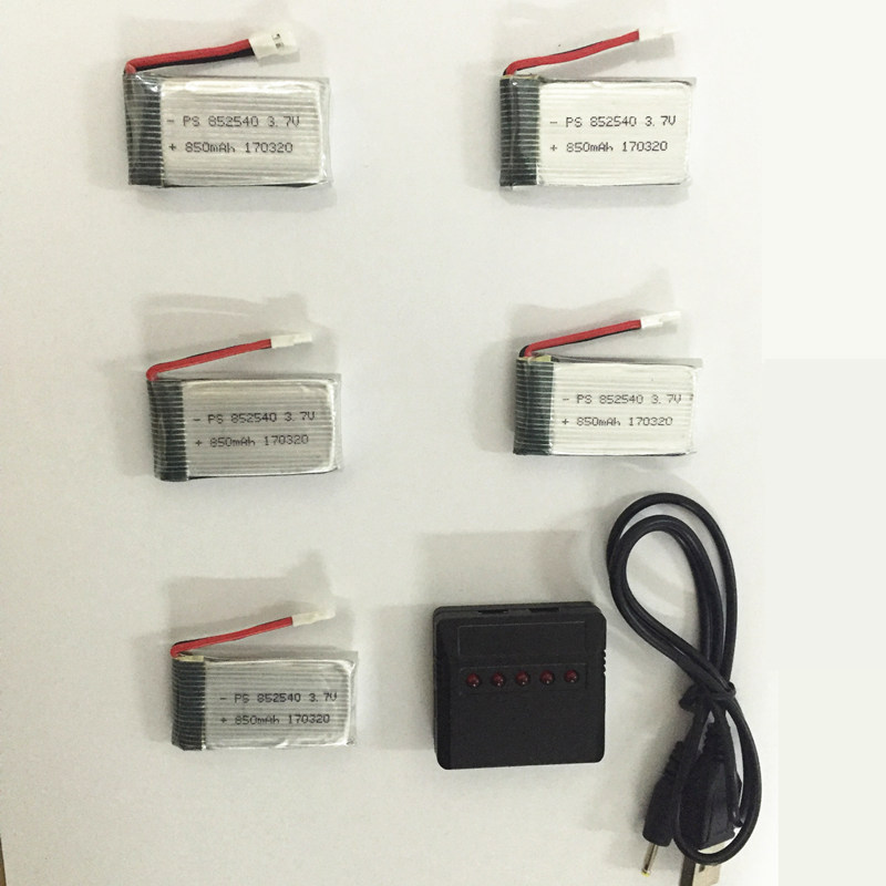 RC Drone Lipo Battery 850 mAh  Li-po Battery For Syma X5C X5SW With 5in1 Charger Box For X5 X5A X5SC X5SW MJX X705C X6SW 3pcs 3 7v 900mah li po battery 3 in 1 black us regulation charger and charging cable for rc xs809 xs809hc xs809hw drone