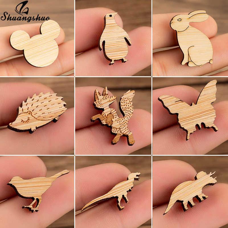 Shuangshuo Kayu Bros Lucu Mikcey Fox Landak Burung Bros UNTUK WANITA Perhiasan Hewan Enamel Kerah Pin Lencana Bros Hadiah Pesta