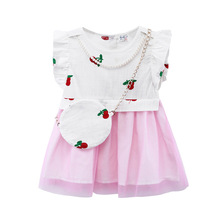 New Summer Girls Dress Strawberry Embroidery Kids Dresses For Girls Print Casual Dress Girls Clothes Princess Dress