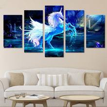 Wall Art Canvas Prints Pictures Home Decor 5 Pieces Unicorn Paintings For Living Room Abstract Fire Horse Poster Modular Framed(China)