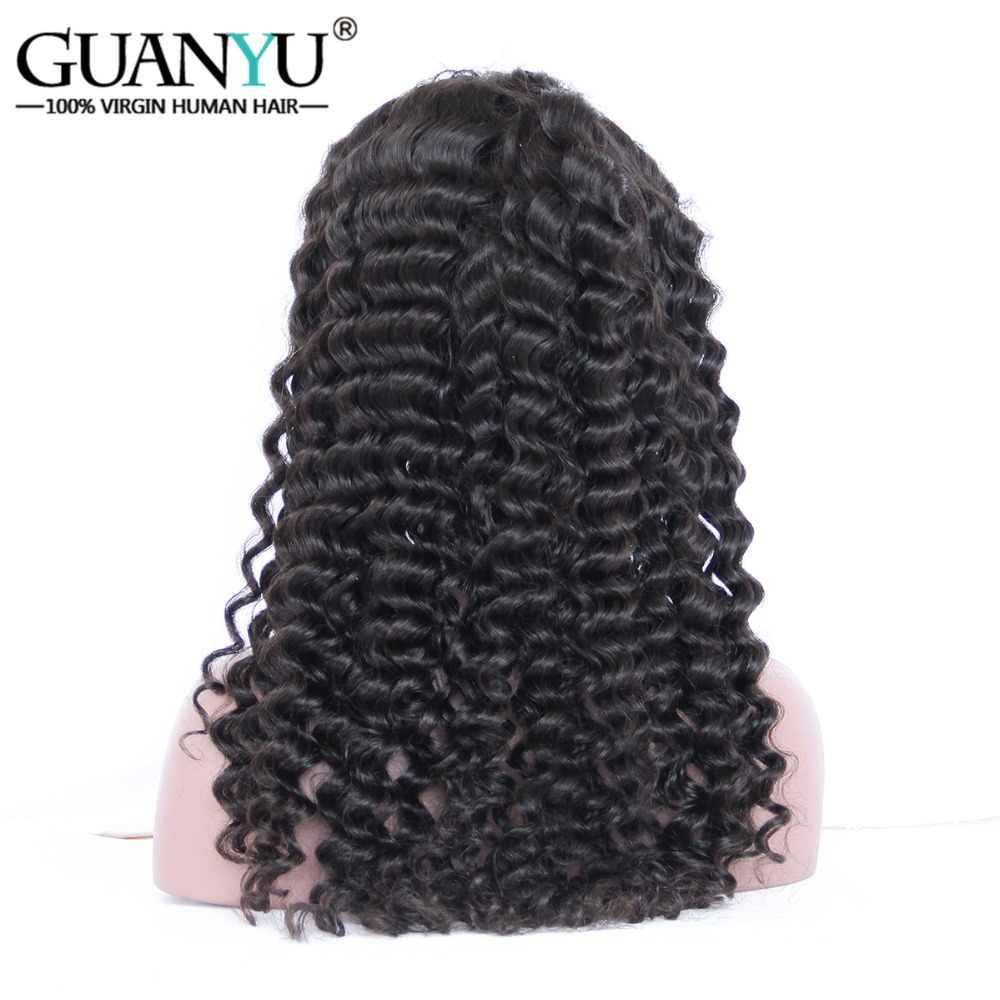 Guanyuhair предварительно сорвал 360 кружевных фронтальных париков # 1B натуральный цвет перуанские Remy человеческие волосы глубокая волна 150% плотность бесплатная часть