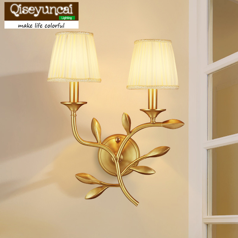 Professional Sale Qiseyuncai 2018 New American Living Room Pure Copper Wall Lamp Jin Zhi Yu Ye French Copper Bedroom Bedside Lighting Quality First Lights & Lighting Led Indoor Wall Lamps