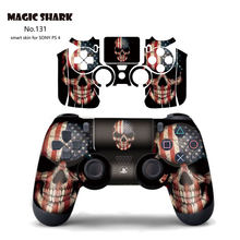 Magic Shark Fashion 2.5D PVC Skull USA Flag Leopard Snake Captain American Ultra Thin Sticker Case Film for PS4 Controller(China)