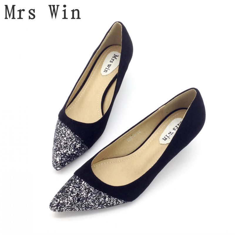 2018 Spring Autumn Shoes Women Pumps High Heels Shoes Bling Pointed Toe Slip On Ladies Single Shoes Feminino Footwear Plus Size