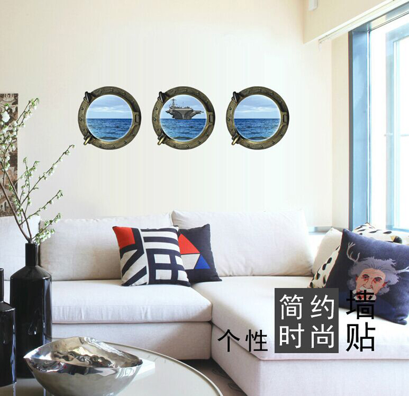 Wall Paintings 3D Three Dimensional Wall Stickers Aircraft Carrier Wall  Sticker For Home Hotel Room Bathroom Wall Decoration 3p