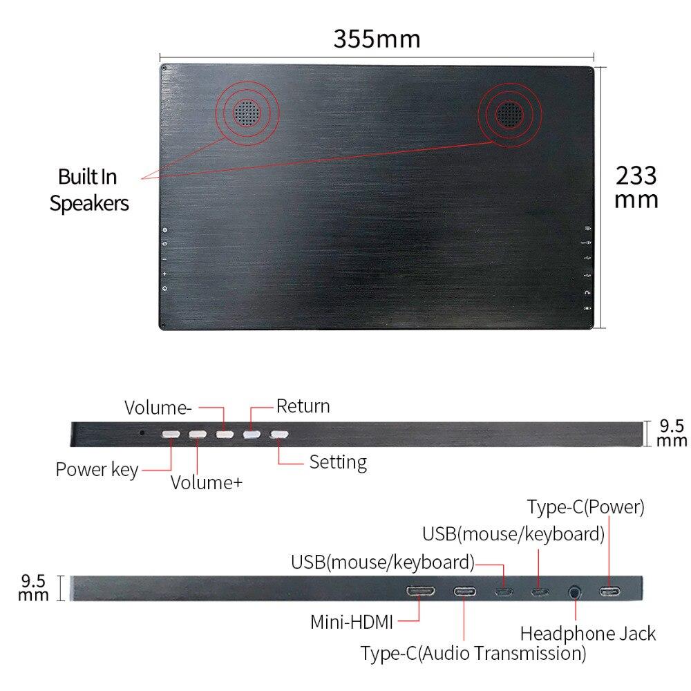 15,6 zoll mit 2 Typ-C USB-C IPS Monitor 1920*1080 HD Dispaly Gaming Tragbare Bildschirm für PS3 PS4 Schalter Mini HDMI Port