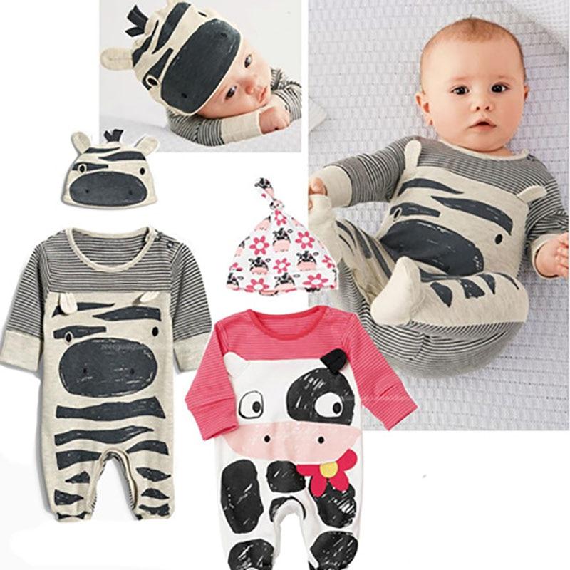 Spring New Fashion Newborn Baby Ropmer Cartoon Long Sleeve Zebra Cow Print Baby Boy Girl Clothes Cotton Sleepwear Baby Rompers