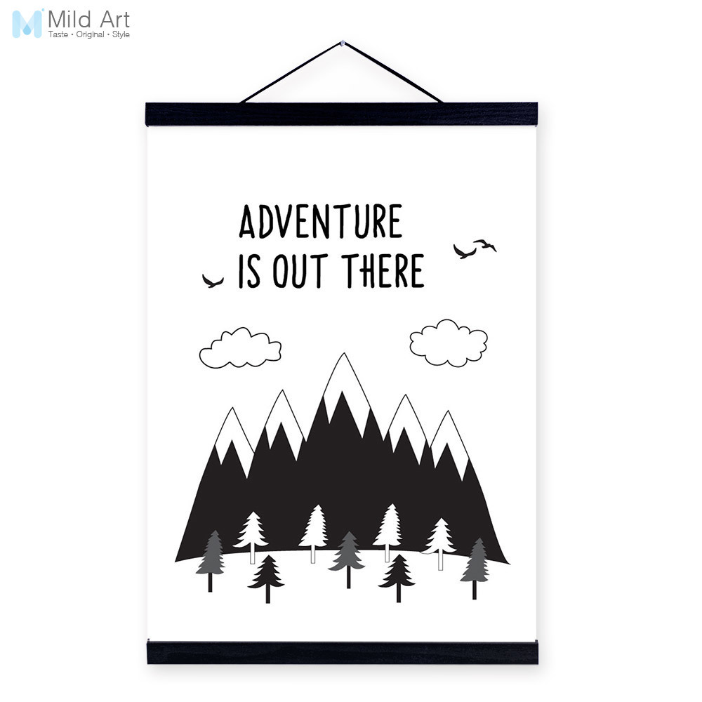 Modern black white mountain adventure quote wooden framed canvas painting living room decor wall art print picture poster hanger