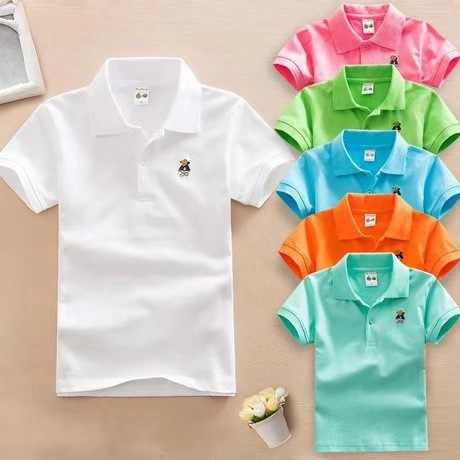 2019 Summer New Boys Short Sleeve Polo Shirt 2-11y Children Lapel Solid Color Clothes Kids Cotton School Uniform Polo Shirts Out