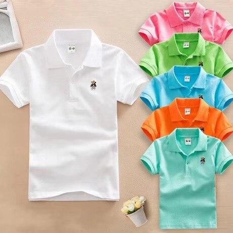 2019 été nouveaux garçons à manches courtes Polo 2-11y enfants revers couleur unie vêtements enfants coton école uniforme polos Out