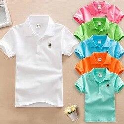 2019 verão novos meninos camisa polo de manga curta 2-11y crianças lapela cor sólida roupas crianças algodão uniforme escolar camisas polo para fora