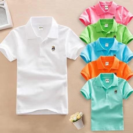 2020 Summer New Boys Short Sleeve Polo Shirt 2-11y Children Lapel Solid Color Clothes Kids Cotton School Uniform Polo Shirts Out