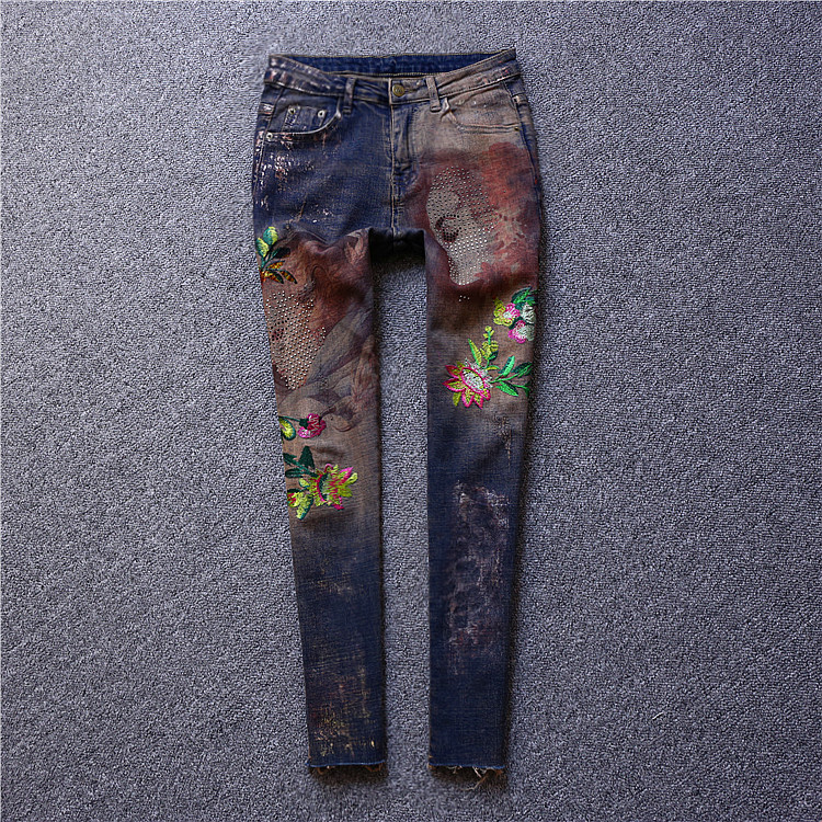 Brand fashion women 's high - end luxury was thin embroidered diamond - studded flowers stretch  pencils  printed jeans trousers