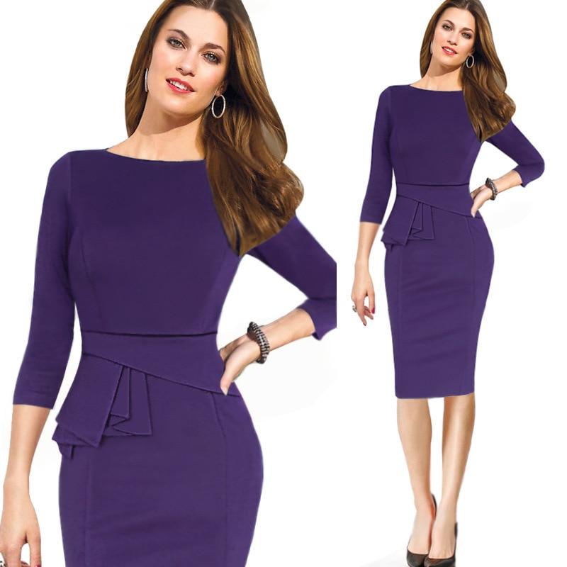 Womens Dresses 2017 Three Quarter Sleeve Bandage Bodycon Pencil Dress Purple Woman Office Work Wear Autumn In From Women S