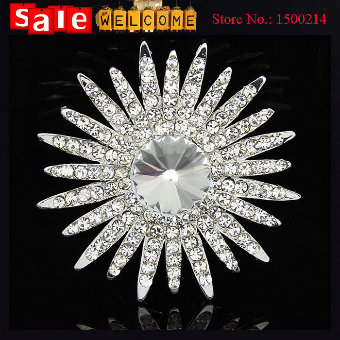 Big Crystal Sunflower Bouquet Wedding Silver Plated Brooch for Women Scarf Buckle Imitation Diamond Full Rhinestone Brooch Pin