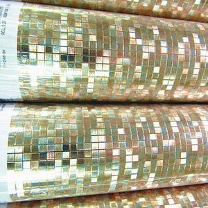 Image 3 - Luxo brilho mosaico papel de parede de fundo papel de parede da folha ouro prata teto cobrindo 3d