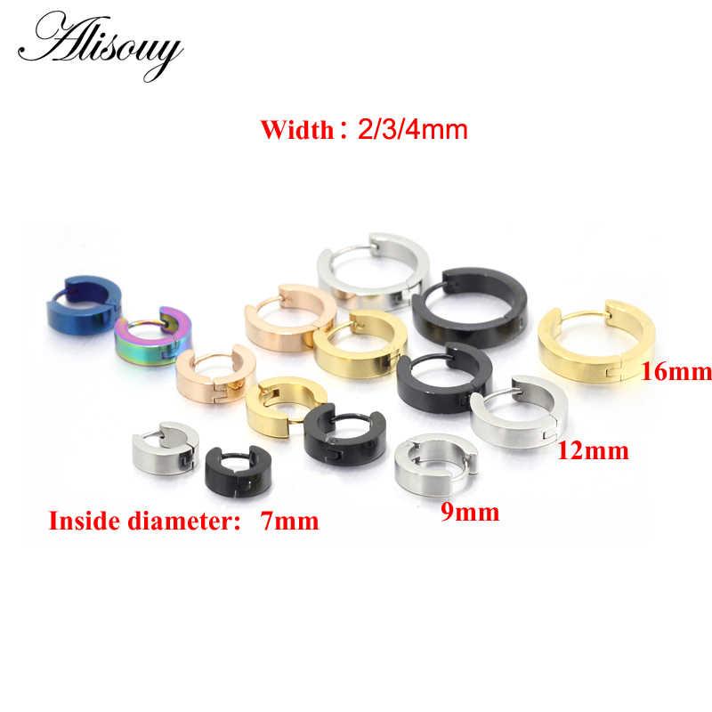 Alisouy pequenos brincos de argola ouro/prata cor 316l aço inoxidável hoop brinco para mulheres brincos de orelha clipe círculo