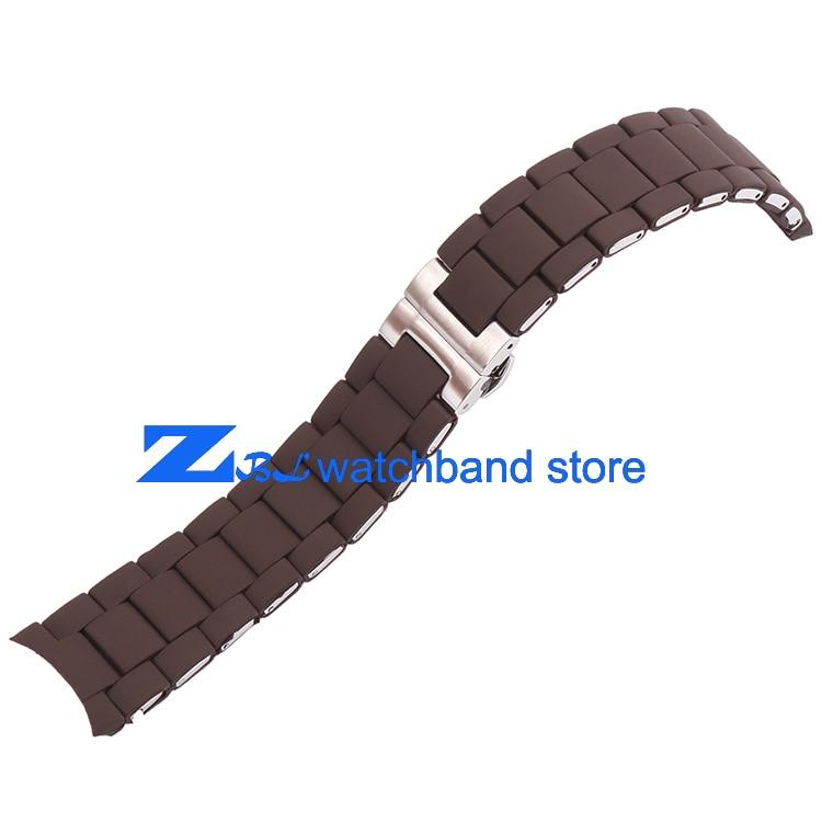Kauçuk kordonlu Saat Çelik kahverengi silika jel adam 23mm kadın - Saat Aksesuarları - Fotoğraf 5