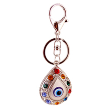 2017 New Design Chic Charming Evil Eye Keychain Crystals Rhinestone Silver Pendant Bag Key chain