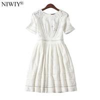 NIWIY Brand Dress Summer Style Kate Middleton Princess Dress Aliexpress uk 2018 Cotton Elegant Women Embroidered White Dress 730