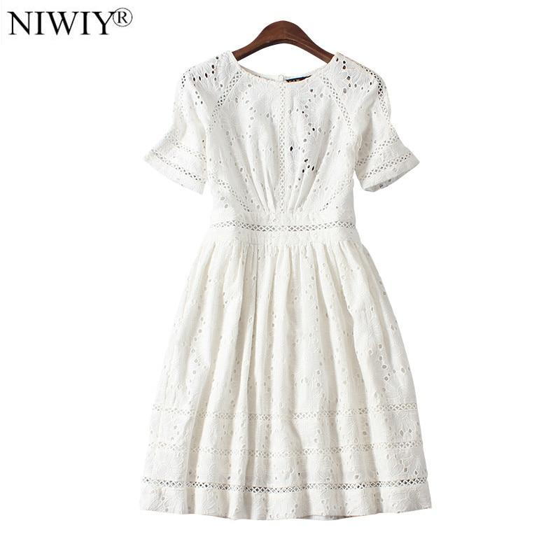 NIWIY Marque Robe D'été Style Kate Middleton Princesse Robe Aliexpress royaume-uni 2018 Coton Élégant Femmes Brodé Blanc Robe 730