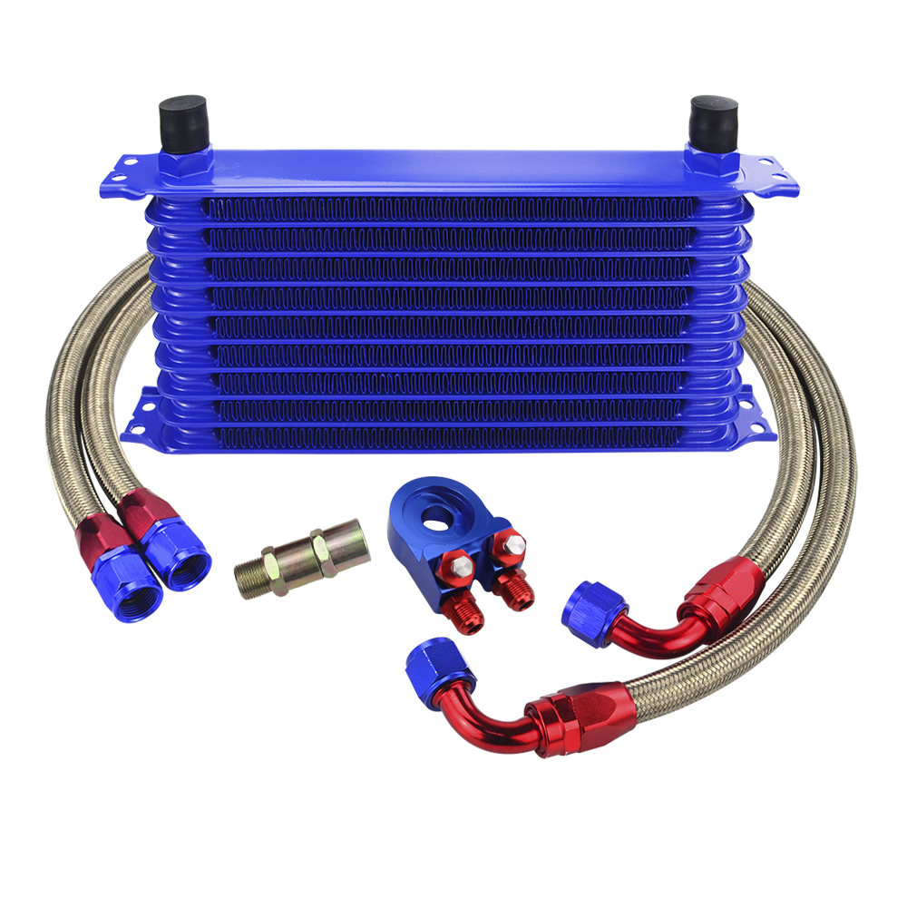 WLR - UNIVERSAL 10ROWS OIL COOLER KIT + OIL FILTER SANDWICH ADAPTER + STAINLESS STEEL BRAIDED OIL HOSE WITH PQY STICKER+BOX
