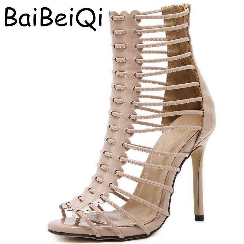 Gladiator High-heeled Sandals Women Narrow Band Ankle Cool Boots Ladies Sexy Peep-toe Stiletto Pumps Party Wedding Shoes Woman roman high heeled sandals women over the knee high boots fetish lady s med stiletto boots sexy hollow gladiator shoes woman