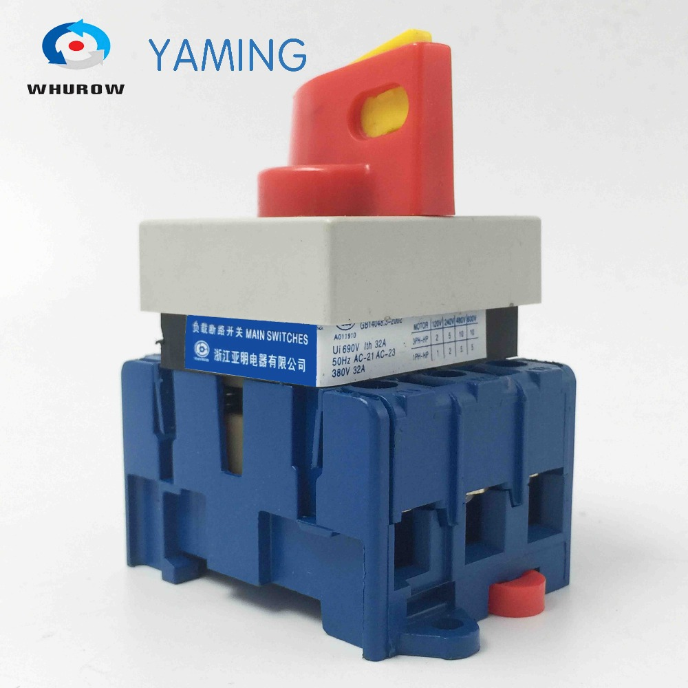 Isolating switch on off 32A 3 phase rotary changeover cam main interruptor disconnect switch with padlock handle ui 660v ith 32a on off load circuit breaker cam combination changeover switch