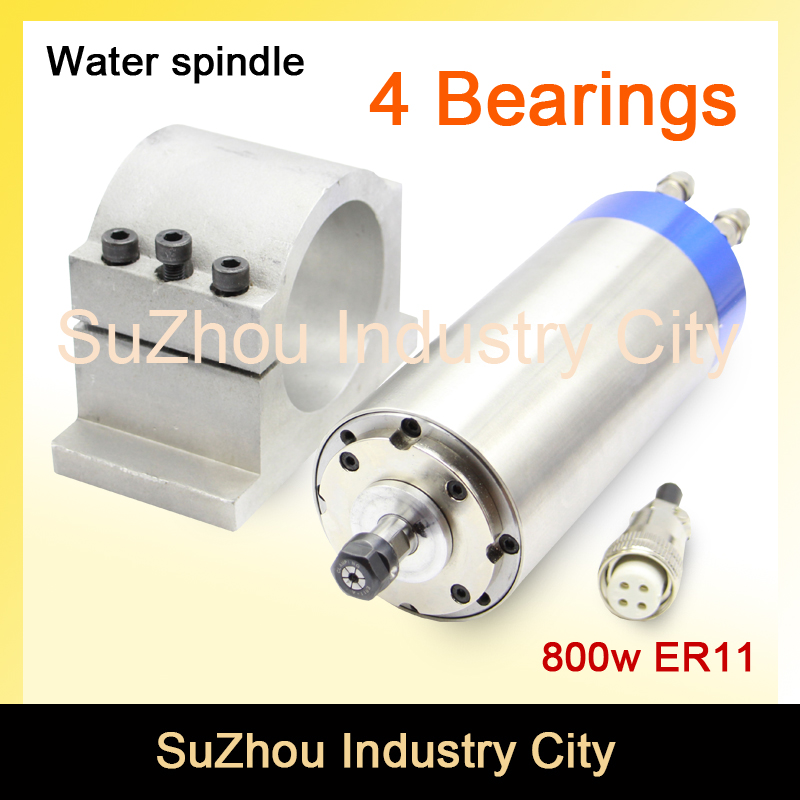 800w ER11 CNC Water Cooled Spindle Motor For engraving milling grind 65x195mm 4 Bearing 65mm cast
