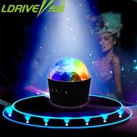 LDRIVE D33 Car LED Music decorate Lights DJ Mini RGB 3w LED MP3 Club Disco Party Magic Ball Stage Effect Rotating Bulb With USB