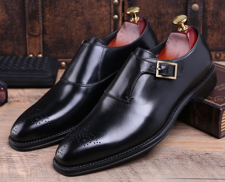 Vestir Zapatos Genuino As Hombre Tallada Hebilla Cuero Negro Dedos Negocios Primavera Señalaron Pic Los Libre Pic Envío as De Otoño Brogue wTIXnqY