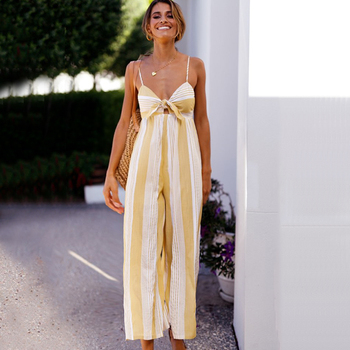 Summer women striped jumpsuits sexy holiday strap rompers loose yellow bohemian vintage casual office backless wide leg overalls 1
