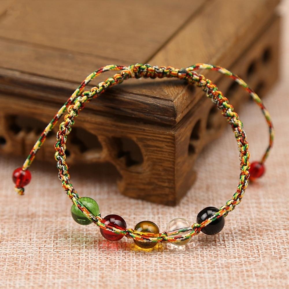 Colorful rope bracelet five rows of beads bracelet Woven Bracelet