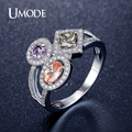 UMODE Multishaped And Multicolor Simulated bijoux Cocktail Rings Gold / Rhodium/ Rose Gold Plated Jewelry for Women Aneis UR0363