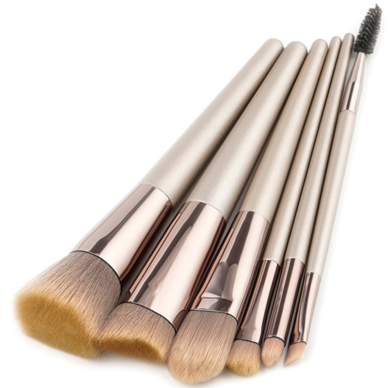 6Pcs Champagne Gold Makeup Brushes Concealer Foundation Powder Lip Eye Shadow Brush Set Eyelash Comb Contour Make-up Brush miss gorgeous makeup brushes set powder foundation steel eyelashes comb combination brush eye shadow eyelash eyeliner eyebrow