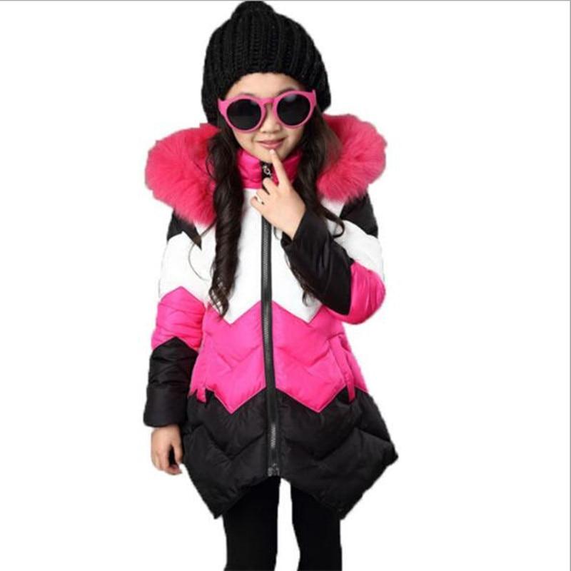 dadeaeea1f 2017 Marca Meninas Casaco de Inverno Longas Seções Jaqueta Meninas casaco  de Inverno Revestimento da pele Para Baixo Casaco de Inverno Kid Escola  Manter ...