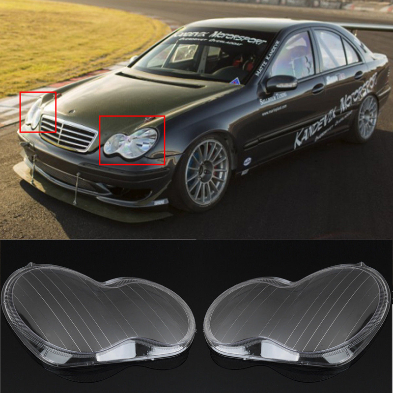 High Quality 1 Pair Left + Right Headlight Headlamp Clear Lens Cover For Mercedes Benz 01-07 W203 C-Class 1 pair car headlight clear lenses lens clear cover left