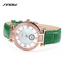 SINOBI Moda Senhoras Relógios de Pulso Pulseira de Couro Mulheres Quartzo Relógio de Diamantes Feminino Relógio de Pulso Montres Femmes 2017 L32