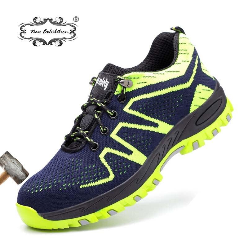 Новая выставка Мужская Рабочая обувь дышащая Сталь носком Защитная обувь кроссовки masculina bot Лодыжки Защитные рабочие ботинки