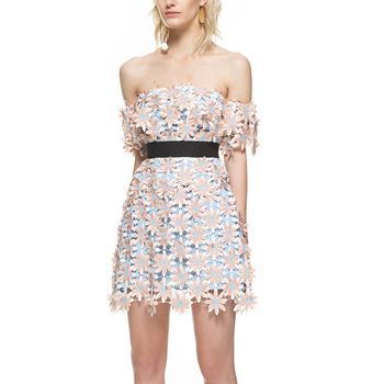 New Self Portrait SummerDress 2018 Women Off Shoulder Water Soluble Lace Flower Short Sleeve Slash Neck Sexy Mini Party Dress