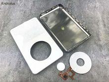Knotolus plástico branco frente faceplate metal voltar habitação case capa botão clickwheel para iPod 5th gen vídeo 30 gb 60 gb 80 gb