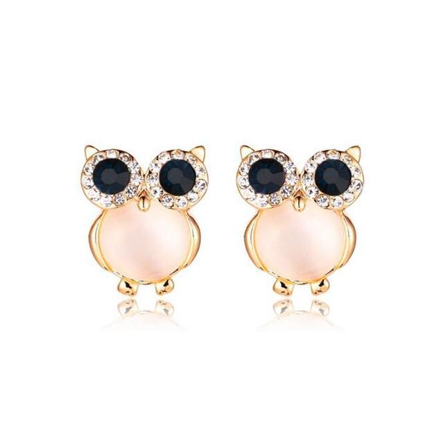 Us 1 0 2017 New Design Cute Owl Earrings Gold Color Opal Black Eyes Stud For Women Fashion Brand Earring Wedding Jewelry In