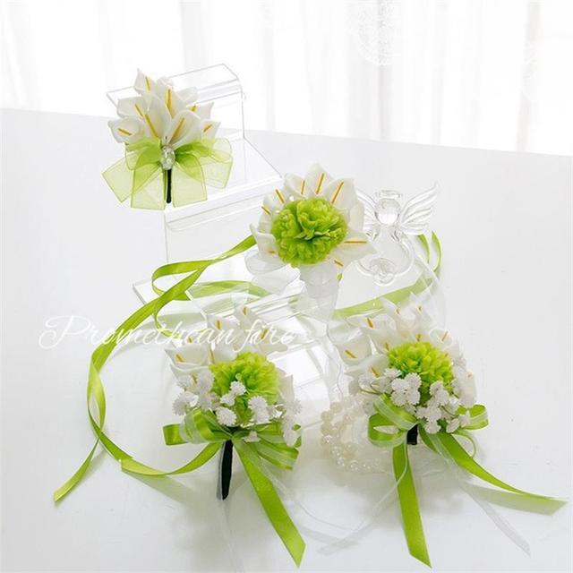 Groom Best man Boutonniere Bride Bridesmaids Wrist Corsage ...