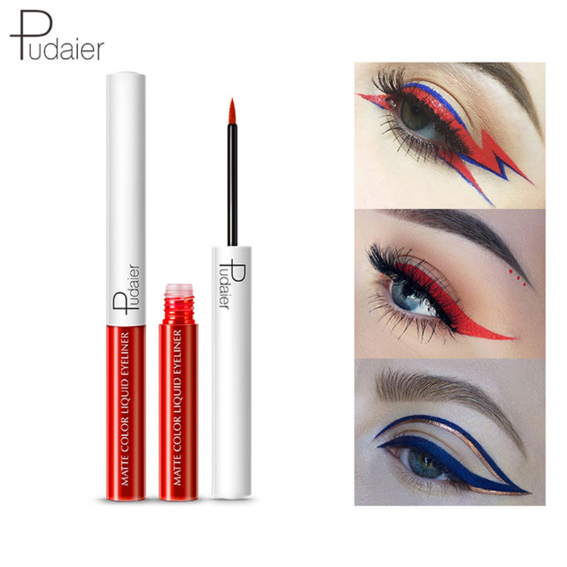 Pudaier Matte Liquid Eyeliner Waterproof Long-lasting Pigment Green Red Color Sexy Eye Liner Party Beauty Cosmetic 15 Colors