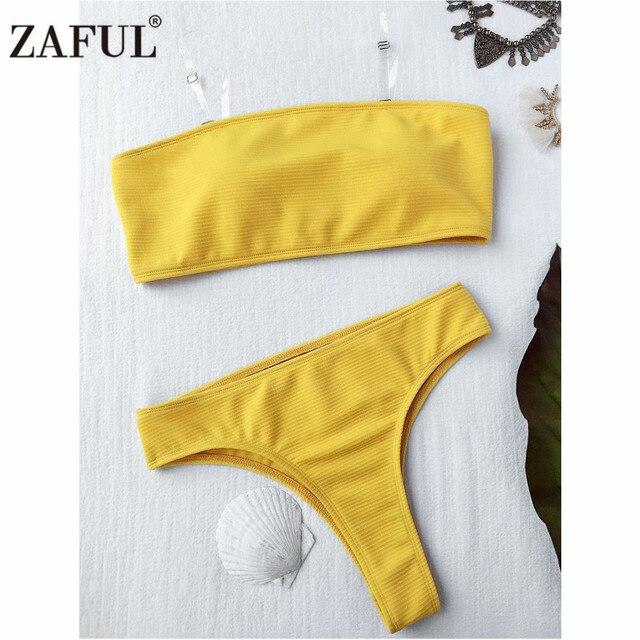 b177884a12a32 Zaful 2017 Bandeau Bikini NEW Style Rib Texture Brazilian Swimwear Female  High Leg Bathing Suit Women Sexy Swimsuit Biquini