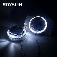 ROYALIN LED Car White Angel Eyes DRL Shrouds Daytime Running Light Bi Xenon HID Lens masks For 3.0 inch Koito Q5 Hella Retrofit
