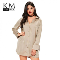 Kissmilk 2017 Big Size Women Clothing Loose Casual Long Sleeve Shirt Dress Solid Basic Style Plus
