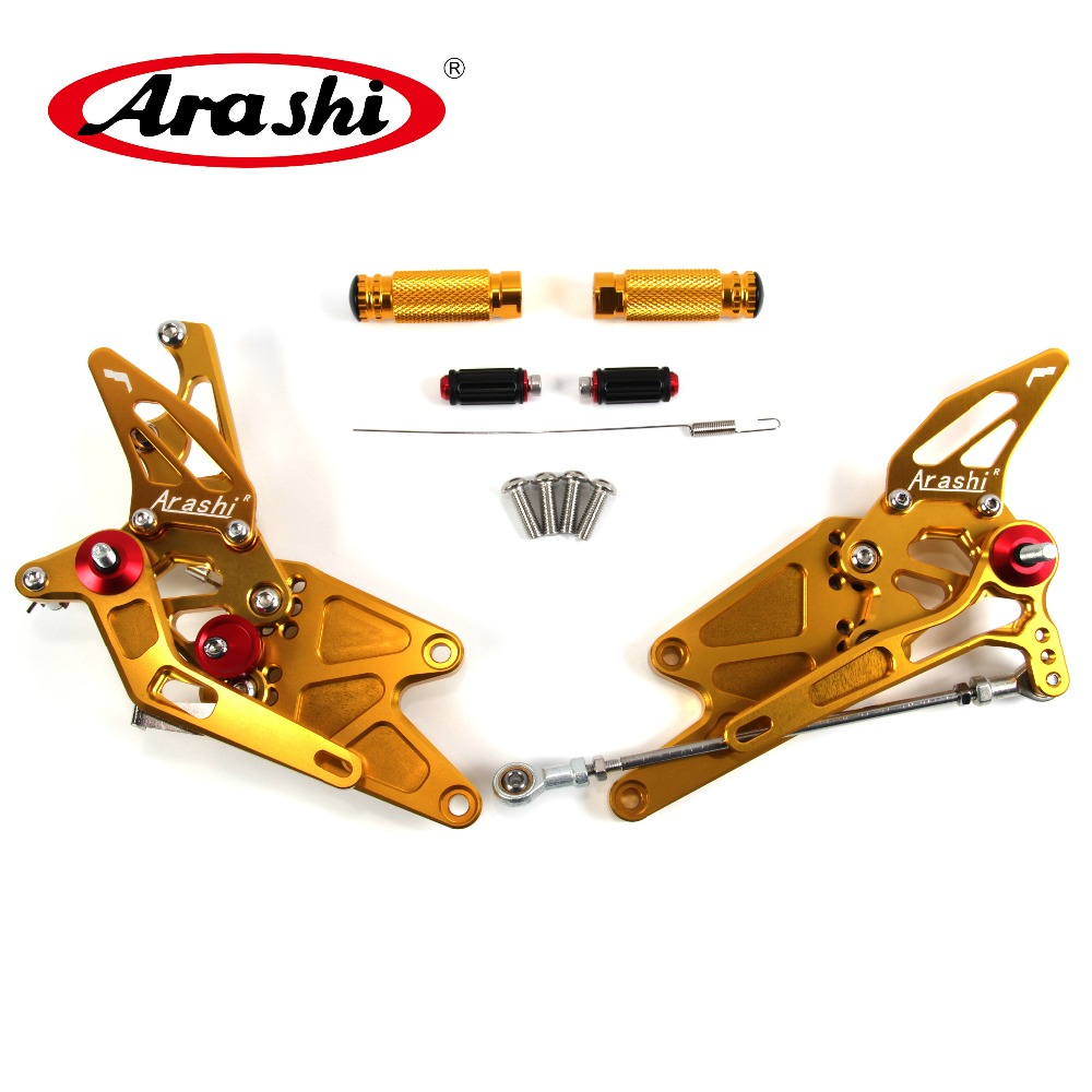 Arashi For YAMAHA MT03 MT25 2015-2017 Non-U.S.model CNC Adjustable Footrest Foot Pegs Rider Rear Sets MT 03 25 2016 Gold
