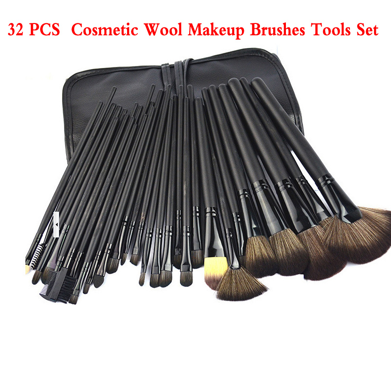 Professional 32 PCS  Cosmetic Wool Makeup Brushes Tools Set Brush With Black Leather Case Facial Make Up Brush Kit free shipping by ems dhl 50 set lot new fiber hairy 32 pcs professional makeup brushes cosmetic set black leather bag