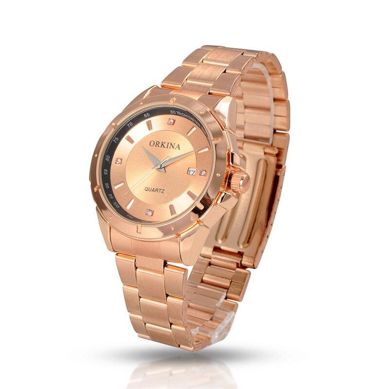 d78f2d6a7d37 Orkina marca mujeres relojes Relogio masculino moda mujer cuarzo reloj de  oro rosa pulsera de acero inoxidable de negocios Relojes